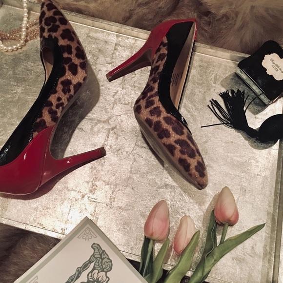 "Rampage Shoes - ""Rampage"" Red Leopard Print Heels"